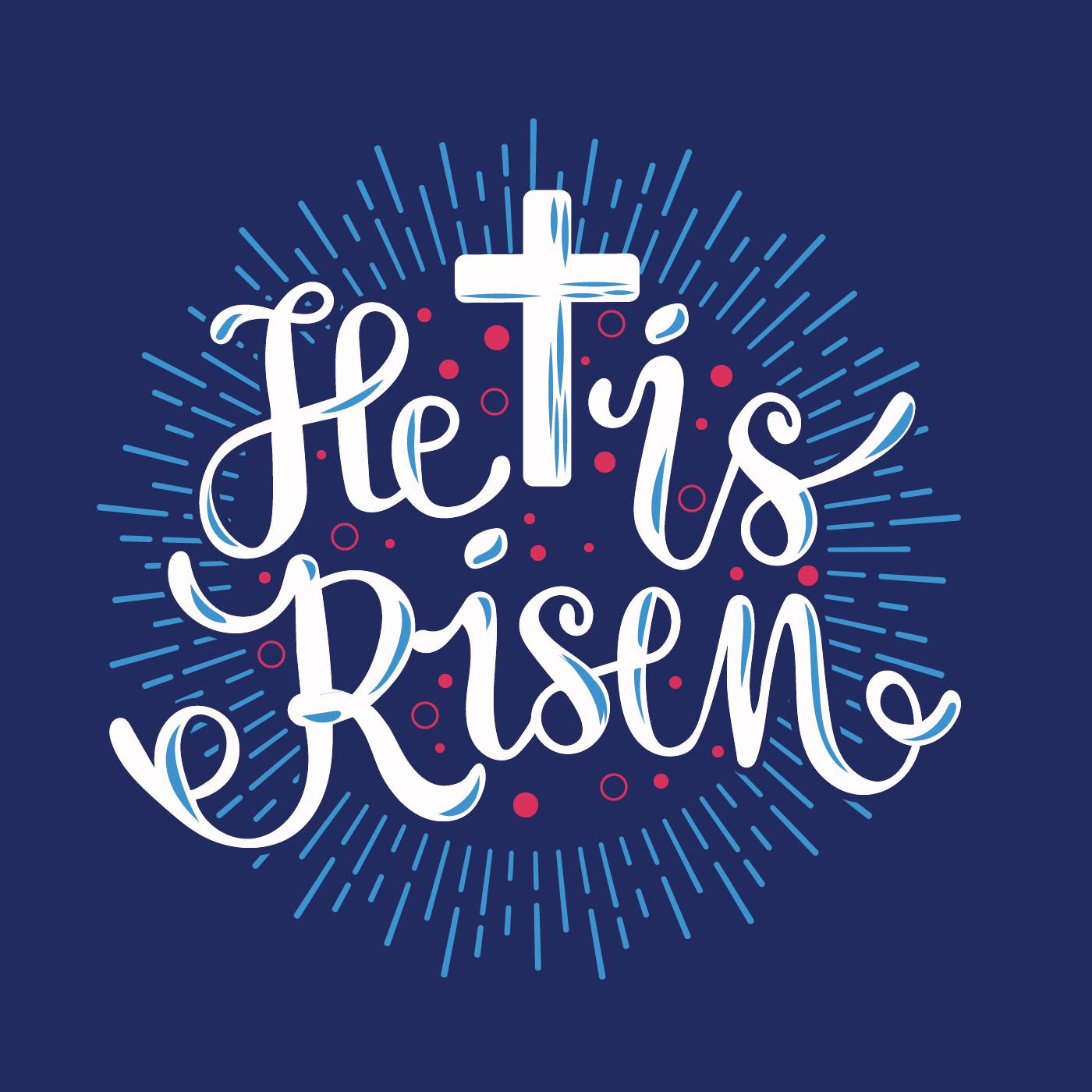 He Is Risen Typographical Background With Sunrise Background