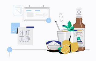 Fresh Mint Julep Vector Flat Background