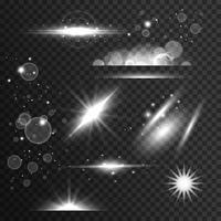 uppsättning gnistrar, ljuseffekt och linsflare i transparent stil