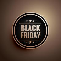 black friday sign and symbol badge with three stars