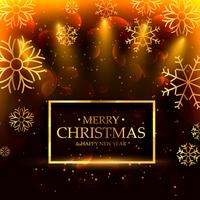 lyxig stil god jul bakgrund med snöflingor och ligh