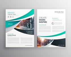 blye annual report brochure flyer design template with wavy shap