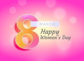 Diseño de tarjeta de felicitación del día de la mujer feliz con fondo hermoso