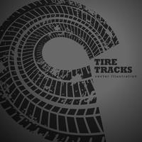 circular tire track on dark background