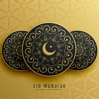 eid mubarak greeting card design in islamic decoration