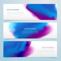 blue and purple watercolor header banners