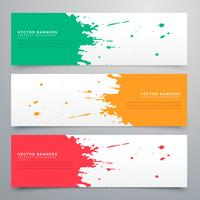 abstract ink splatter banners set background