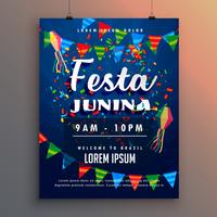 Cartel de flyer de fiesta de fiesta junina con confeti y guirnaldas decoración