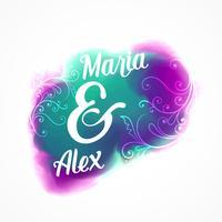 design de cartaz de convite de casamento com efeito aquarela e flor