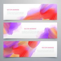 vibrant watercolor web headers set background