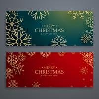 uppsättning av två glada jul banners mall i rött och grönt kol