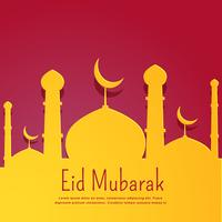 fond rouge en forme de mosquée jaune pour la fête de l'Aïd
