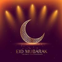 beautiful eid mubarak festival with crescent moon