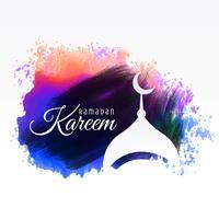Ramadan Kareem Festivalgruß mit Aquarellhintergrund