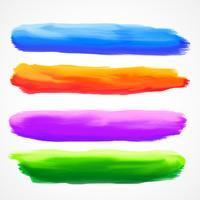 real four watercolor brush stroke set