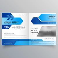 vector blue bi fold business brochure template design