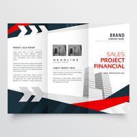 elegante rode zwarte zakelijke driebladige brochure ontwerpsjabloon