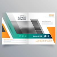 bi fold brochure template design made with geometric shapes