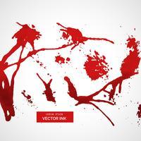 conjunto de tinta vermelha splatter