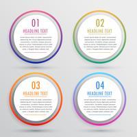 Opciones circulares para infografías con cuatro pasos.