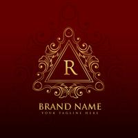 design del logo della cornice del bordo del monogramma per la lettera R