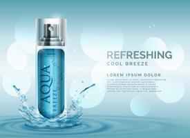 concept rafraîchissant de publicité de spray cosmétique avec des éclaboussures d'eau