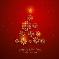 Elegante diseño de árbol de navidad dorado hecho con copos de nieve.