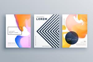 conjunto de plantillas de diseño de folleto creativo abstracto hecho con líneas de un