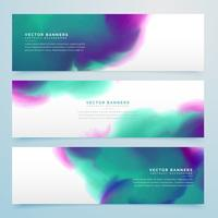 watercolor banner set of three