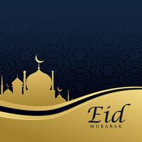 premium eid festival greeting card design in golden