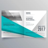 Blå och grå affärs broschyrdesign i bifold stil