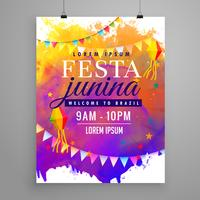 conception de flyer invitation fête festa junina fête