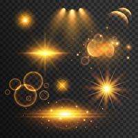 uppsättning av transparent linsflare och ljuseffekter