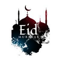 Diseño de saludo de eid mubarak con forma de mezquita y grunge