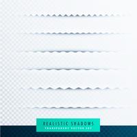 Colección de efectos de sombras de papel en zigzag sobre fondo transparente