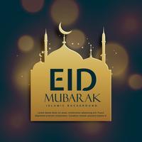 mooie eid Mubarak achtergrond met gouden moskee