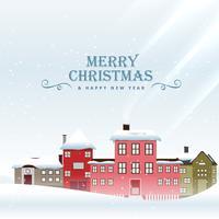 Saludo festivo de feliz Navidad con casas cubiertas de nieve