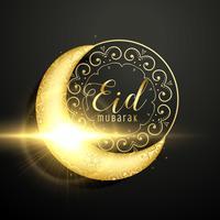 golden moon with floral decoration for eid mubarak festival