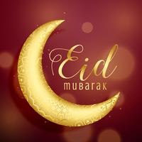 golden crescent moon on red background for eid festival