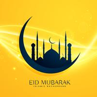 muslim religion eid festival greeting design with moon and mosqu