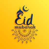 Saudação de mubarak festival aid em fundo amarelo