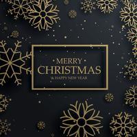 Hermosa feliz tarjeta de felicitación de Navidad con oro copos de nieve en