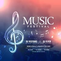 Festival de musica invitación diseño con notas.