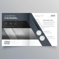 gray bi fold business brochure design template