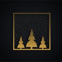 fantastisk julfestival design med tre träd och gyllene fr