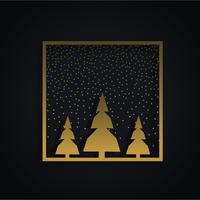 amazing christmas festival design with three trees and golden fr