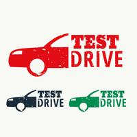 vector test drive sign stamp design