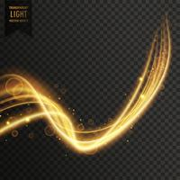 Remolino estilo dorado efecto de luz transparente vector fondo