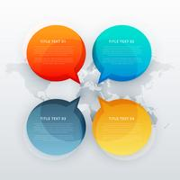 quatre parlent la bulle de dialogue dans le style de modèle infographique
