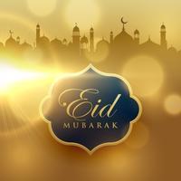 fundo dourado bonito do festival de eid mubarak